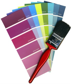 Fashionable colours of paint swatches, and a brush on a white background isolated, with Clipping Path